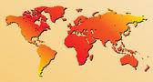 Mapa-múndi vermelho - vetor — Vetor de Stock