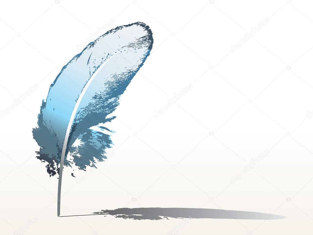 Isolated detailed blue feather - vector — Stock Vector #3843544
