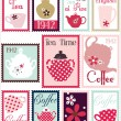 Romantic Post Stamps With China Set — Stock Vector