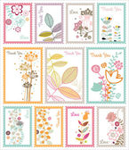 Decorative floral post stamp set — Stock Vector
