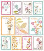 Decorative floral post stamp set — Stock Vector