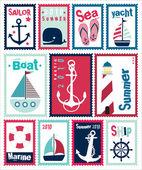 Marine Post Stamps Set — Stock Vector