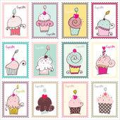 Jeu de conception de cupcake poste timbres — Vecteur