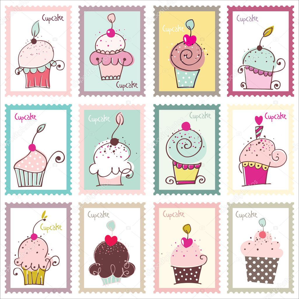 Lovely stamps with original cupcake illustrations and lovely color combination.  — Stock Vector #3675420