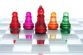 Chess knights Leader — Stock Photo
