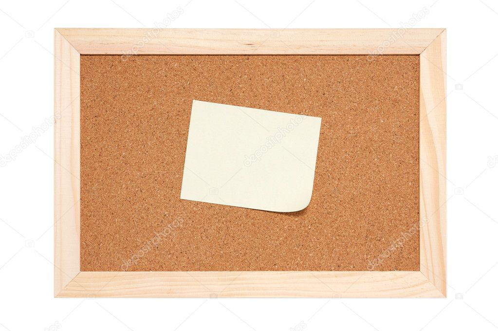 Corkboard with empty yellow reminder isolated on white — Stock Photo #3792059