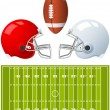 Stock Vector: Two sport Helmets and field for AmericFootball