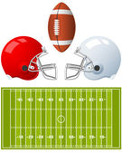 Two sport Helmets and field for American Football — Stockvektor