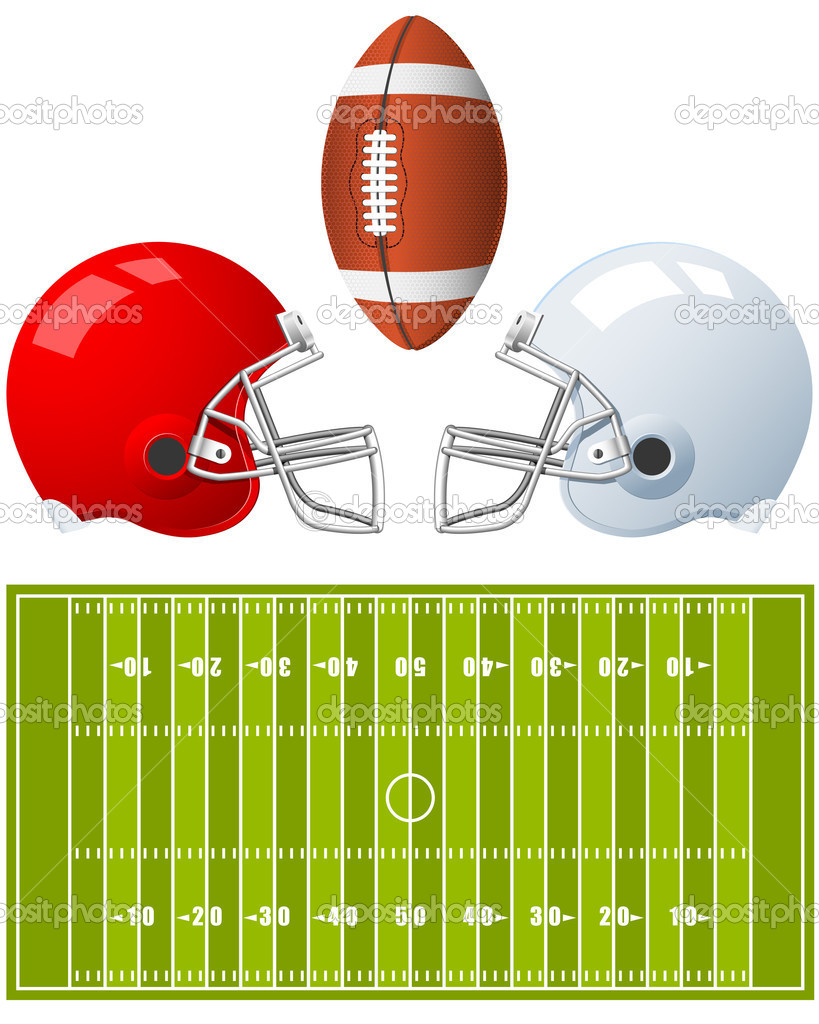 Two sport Helmets and field for American Football   Stock Vector #3681155