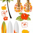Hawaiian rest attributes - Stock Vector
