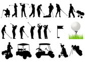 Silhouettes of Men playing golf with golf ball — Stock Vector