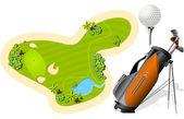 Putting Green, Golf Bag and ball — Stock Vector