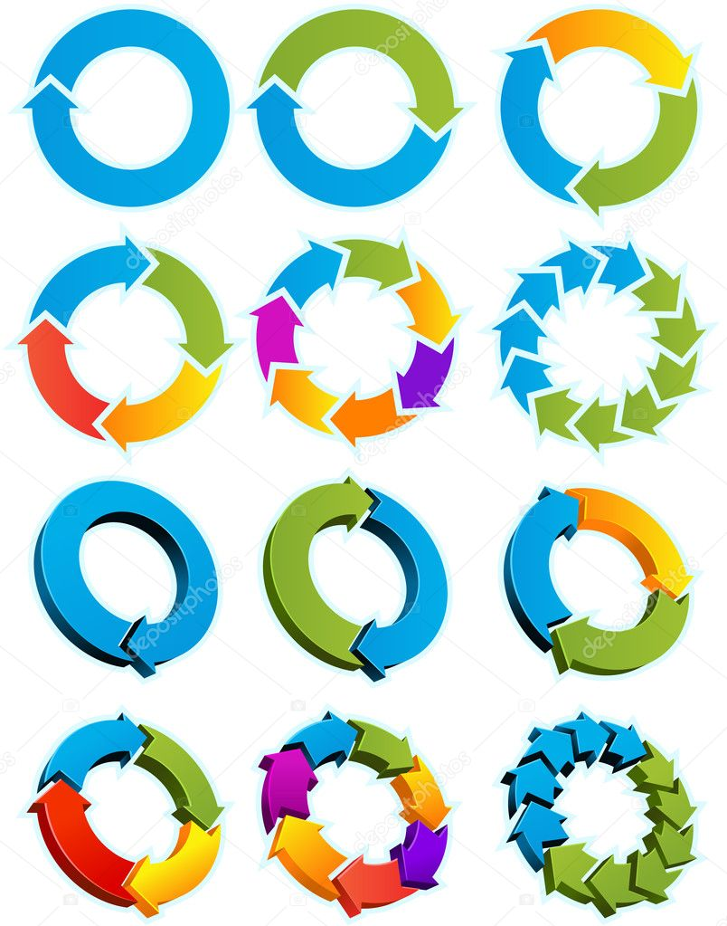 Set of Different arrow circles isolated on the white — Stock Vector #3756996