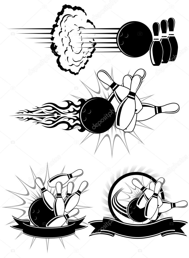 Black And White Bowling clipart styled as emblems — Stock Vector #3757080