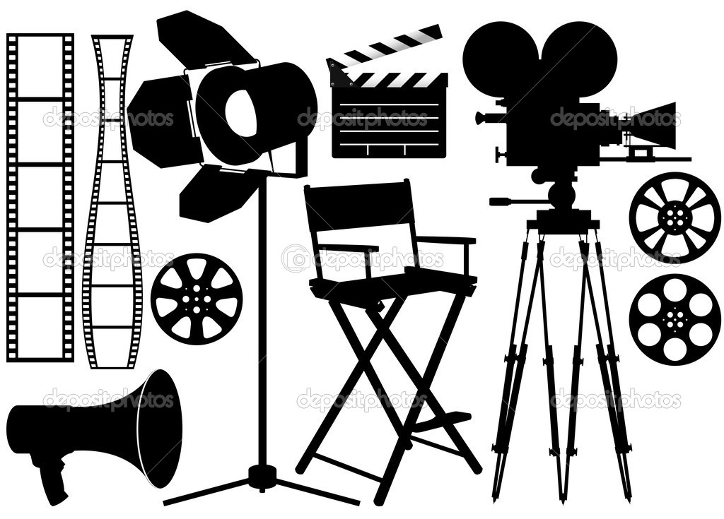 Film Industry silhouette icons on the white  Stock Vector #3757098