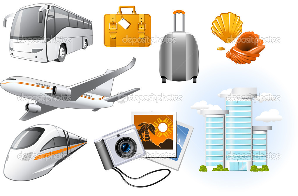 Travel icons with transport and rest attributes — Stock Vector #3757256