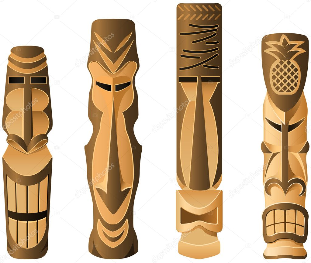 Four different wooden Hawaii Tikis on the white — Stock Vector #3757258