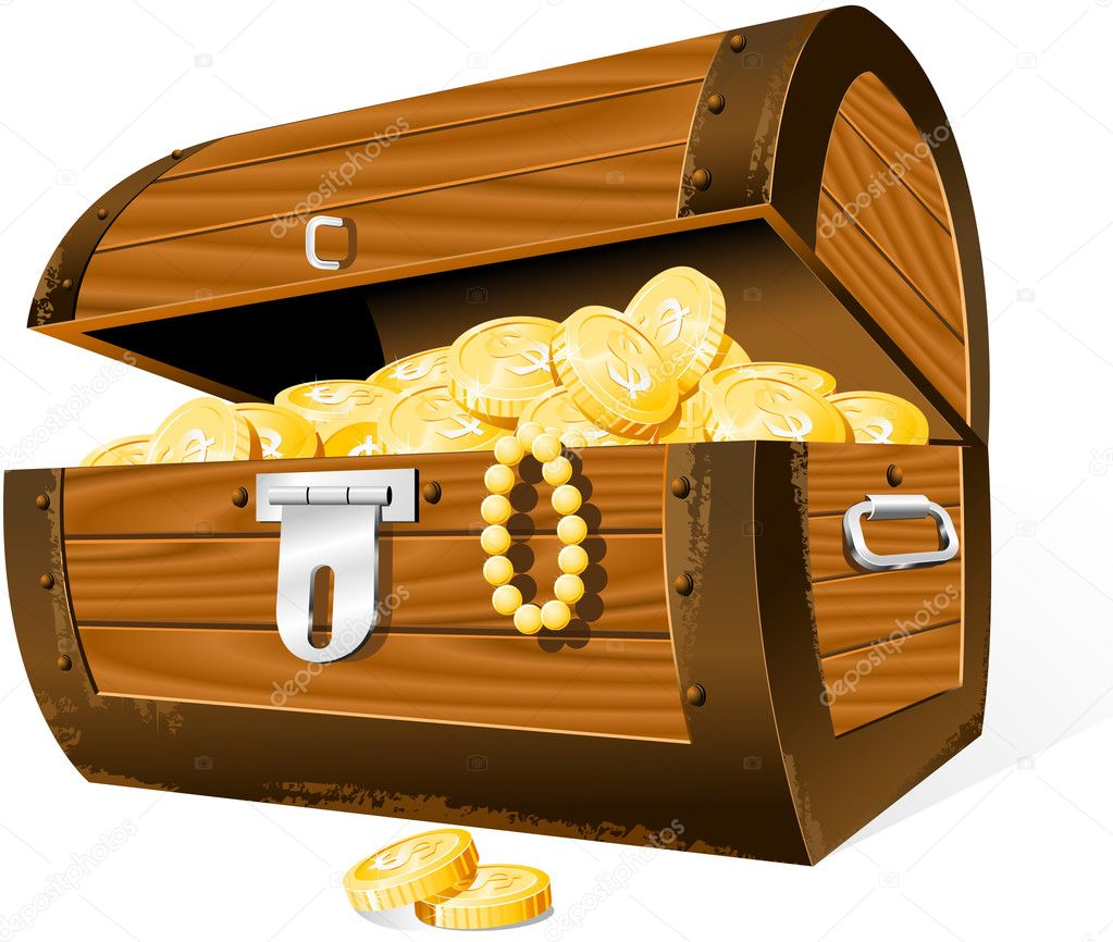 Opened Treasure Chest  isolated on the white — Stock Vector #3757292
