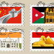 Postmarks - sights of the world series - Asia — Stock Vector