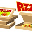 Food series - pizza boxes — Stock Vector