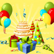 Birthday hat, gift and cake on the yellow background - Stockvektor