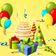 Birthday hat, gift and cake on the yellow background - Grafika wektorowa