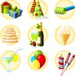 Birthday and celebration objects icon set — Stock Vector