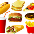 Fast food icon set — Vettoriali Stock