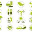 Stock Vector: Energy saving and environmental protection icon set