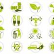Energy saving and environmental protection icon set — Stock Vector