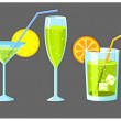 Set of five different glasses with drinks — Stock Vector