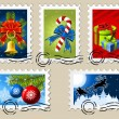 Vector de stock : Christmas Stamps