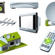 TV system - remote control, tv set and satellite - Stockvectorbeeld