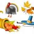 Stock Vector: Thanksgiving Symbols