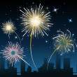 Stock Vector: Fireworks over the city