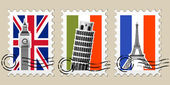 Three Postmarks with sights of Europe and stamps — Stock Vector
