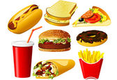 Fast-food-icon-set — Stockvektor