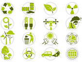 Energy saving and environmental protection icon set — Vector de stock