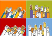 Voting group of - symbolic human's hands — Stock Vector