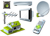 TV system - remote control, tv set and satellite — Stockvektor