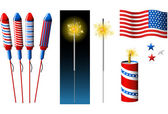 Vector Fireworks, sparkler and American flag — Stock Vector