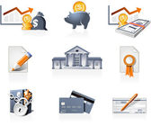 Bank, finances and stock-market icons — Stock Vector