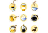 Nine coffee icons — Stock Vector