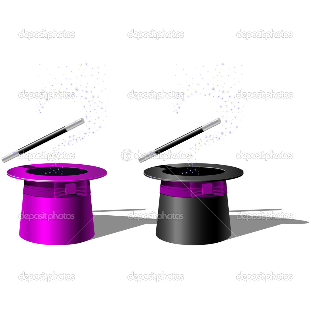 Magician top hat and Magic Wand with stars  Stock Vector #3761645