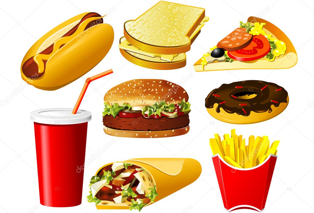 Fast Food Icon Vector Fast Food Icon Set — Vector by