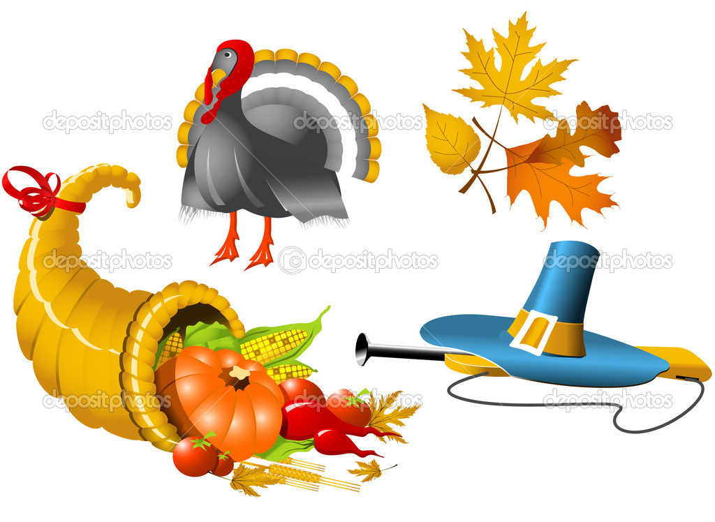 Thanksgiving Symbols icon set - four elements — Stock Vector #3761810