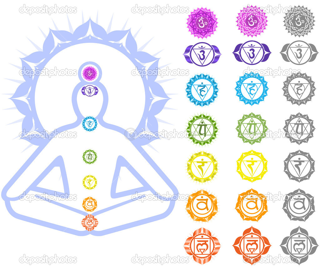 Seven Chakras  and spirituality symbols  Vettoriali Stock  #3761837