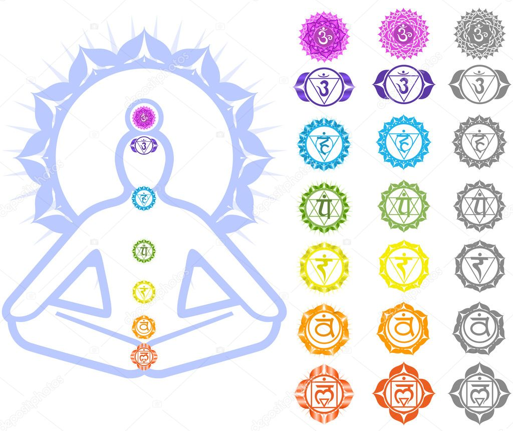 Seven Chakras  and spirituality symbols  Imagen vectorial #3761837