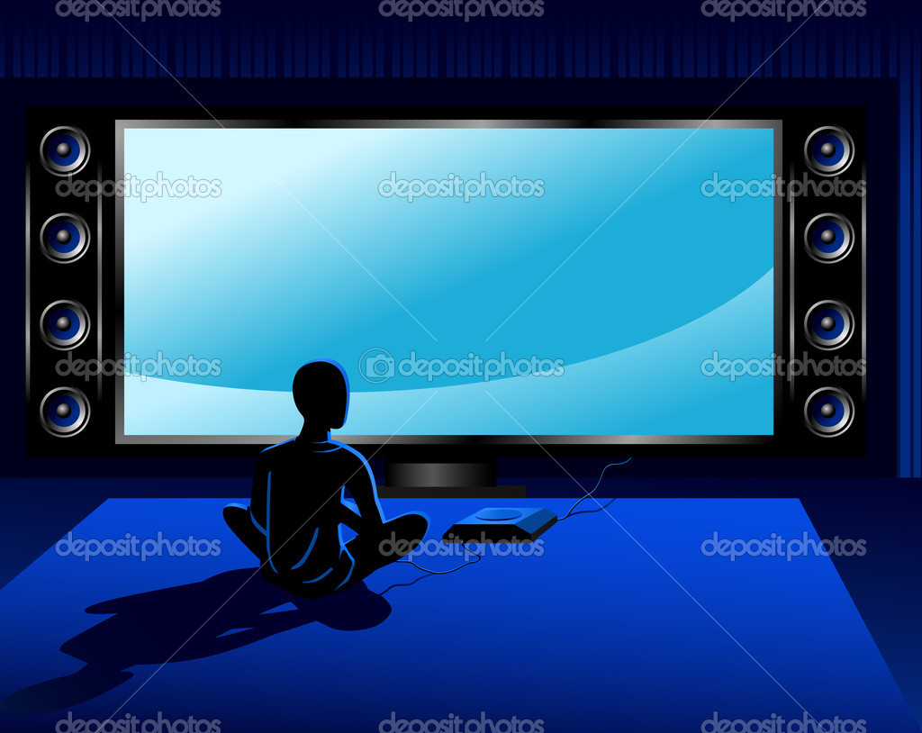 Boy playing coumputer game console in front of tv set — Stock Vector #3761866