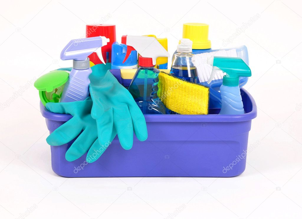 Household cleaning products in a plastic container — Stock Photo #3850231